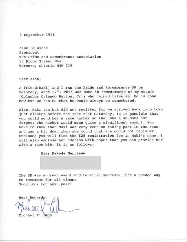 Letter to Alan Belaiche from Michael Tillman