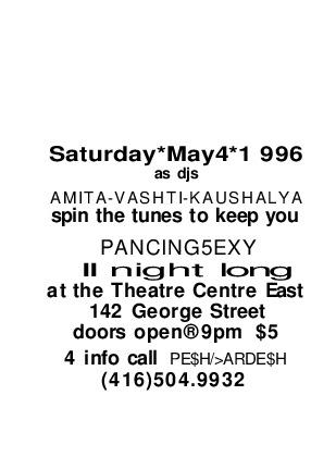 Dance Sexy with Desh Pardesh (1996 flyer)