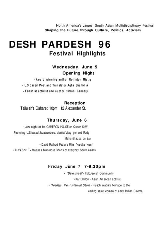 Desh Pardesh 96' Festival Highlights