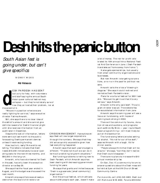 Desh Hits the Panic Button (News article from 2000)