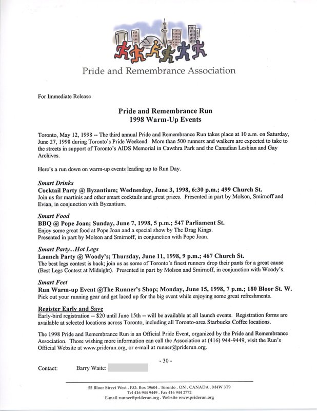 Pride and Remembrance Run 1998 Warm-Up Events