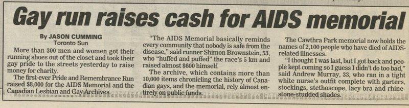 'Gay Run Raises Cash for AIDS Memorial' (Toronto Sun)