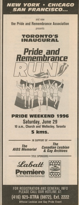 Pride and Remembrance Run Ad in Xtra
