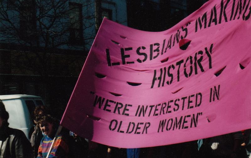 Maureen Fitzgerald Holding Lesbians Making History Banner