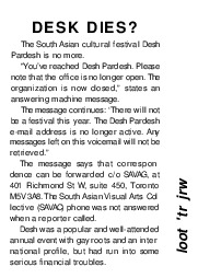Desh Dies? (News article from 2001)