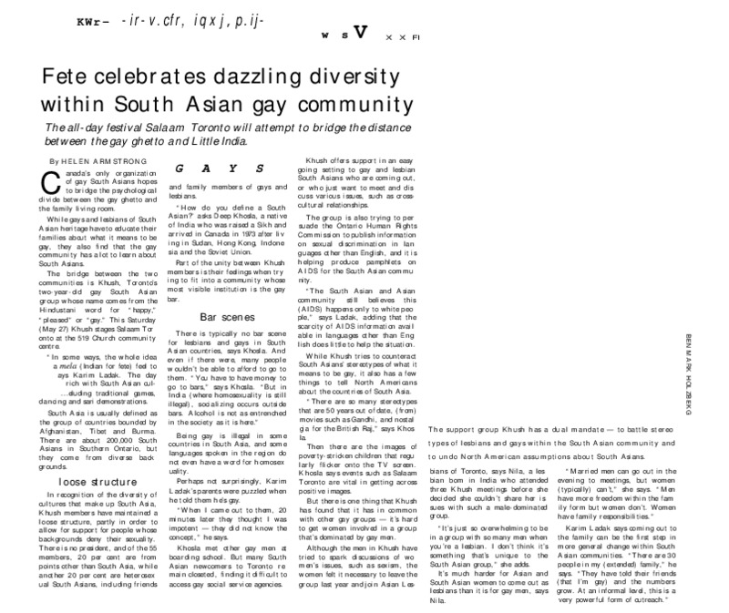 Fete Celebrates Dazzling Diversity within South Asian Gay Community (News Article 1989)