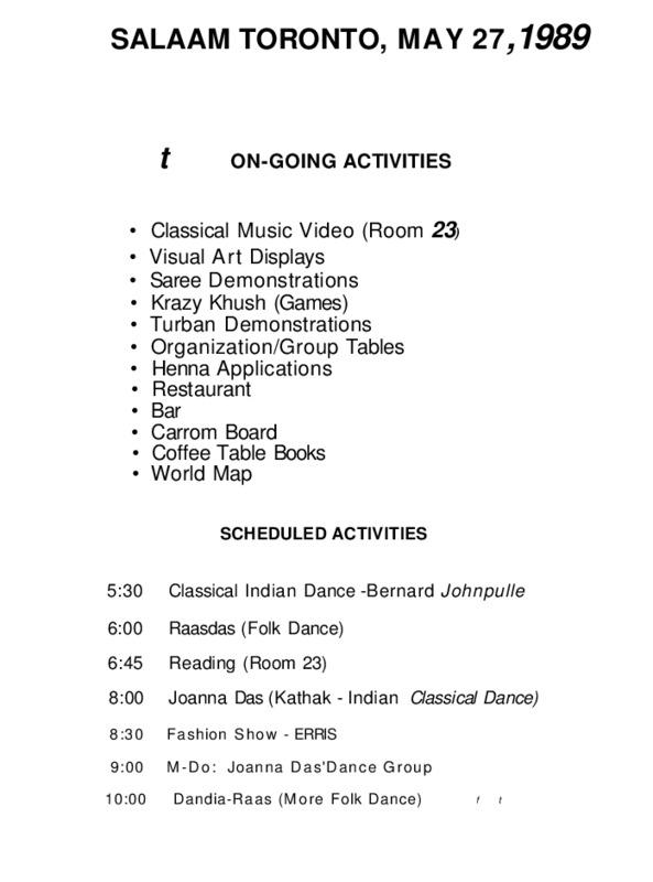 Salaam Toronto: On going Activities (1989)