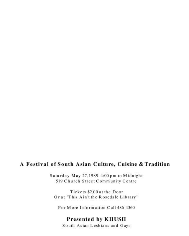 Salaam Toronto: A Festival of South Asian Culture, Cuisine and Tradition (1989)