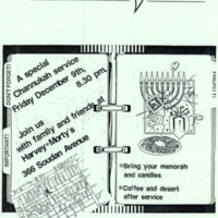 White Chutzpah flyer announcing a Channukah service at Harvey and Morty's.