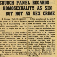 Church panel regards homosexuality as a sin but not as sex crime