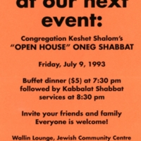 """Coral invitation to join Congregation Keshet Shalom's """"Open House"""" Oneg Shabbat on July 9, 1993."""