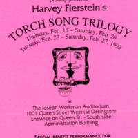 "Pink flyer promoting Prominent Feature Players performance of ""Torch Song Trilogy"" in February 1993, including a benefit performance for Congregation Keshet Shalom."
