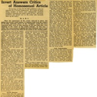 Invert answers critics of homosexual article