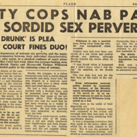 City cops nab pair of sordid sex perverts! 'Was drunk' is plea but court fines duo!<br />