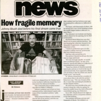 """Article by Ab Velasco titled """"How Fragile Memory"""" outlining the move of the International Jewish GLBT Archive from Johnny Abush's home in Toronto to the ONE Institute Centre for Advanced Studies in Southern California. Article features a photo of Johnny with a large book open in front of him, in front of a bookcase."""