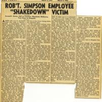 "Rob't. Simpson employee ""shakedown"" victim"