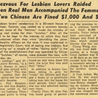 Rendezvous for lesbian lovers raided when real men accompanied the femmes: two Chinese are fined $1,000 and $400