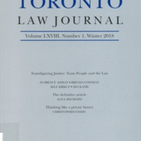 University of Toronto Law Journal: Transfiguring Justice: Trans People and the Law LXVIII:1 (Winter 2018)