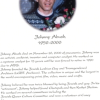Memorial card showing a picture of Johnny Abush and outlining some of hos accomplishments and involvement within his community.<br />