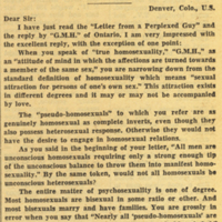 Letter from American homo deals with 'Perplexed Guy'