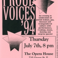 "Pink flyer by The Jewish Queer Culture Committee, presenting ""Proud Voices '94,"" an arts night at the Opera House."