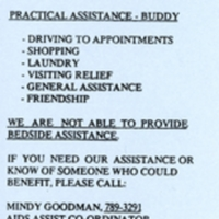 Blue flyer announcing Holy Blossom's AIDS Assist Outreach Volunteer Program, wherein volunteers offered practical assistance to Jewish community members who were HIV positive or had AIDS.<br />