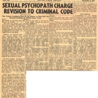 Sexual psychopath charge revision to criminal code