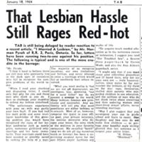 That lesbian hassle still rages red-hot