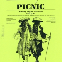 Yellow Chutzpah flyer advertising a picnic in August 1982. Flyer shows two pirates strolling.