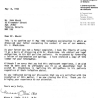 Letter from Minna H. Stein (Royal College of Dental Surgeons of Ontario) to Johnny Abush on 12 May 1992, following up on Abush's complaint about his dentist's conduct upon learning Abush had AIDS.