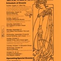 Orange Chutzpah flyer announcing their autumn event schedule.