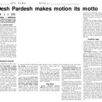 Desh Pardeh Makes Motion Its Motto (News article 1998)