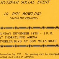 Orange flyer advertising Chutzpah social bowling event at Thorncliffe Arena.