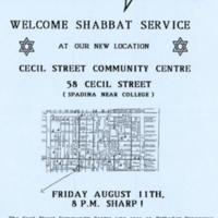 Flyer advertising Shabbat service at Chutzpah's new location on Cecil Street, showing the new location on a map.