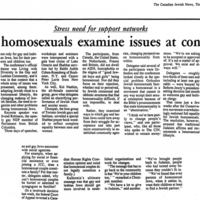"Article in The Canadian Jewish News by Ron Csillag on 12 July 1990 titled ""Jewish Homosexuals Examine Issues at Conference,"" outlining the Midwest Regional Conference of the World Congress of Gay and Lesbian Jewish Organizations."