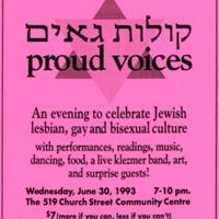 "Pink flyer by The Jewish Queer Culture Committee, presenting ""Proud Voices,"" an arts night at the 519 Church Street Community Centre."