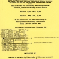 Announcement of day and time for Shabbat Services in April and May, and a map.