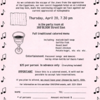 Flyer for the annual Passover Seder on April 20 on Bloor Street East, decorated by music notes and images of matzo and a chalice.