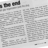 """Article by fab staff on 8 November 2001 titled """"It's the End,"""" noting that due to declining interest, Congregation Keshet Shalom would be winding down at the end of 2001."""