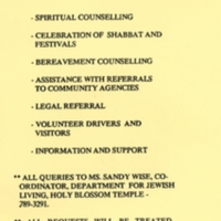 Yellow flyer advertising the services that the Holy Blossom Temple Social Action Subcommittee on AIDS provided: information, support, counselling, legal referrals, and more.