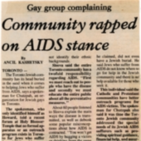 """Article in the Canadian Jewish News on 5 November 1987 by Ancil Kashetsky titled """"Community Rapped on AIDS Stance,"""" arguing that at that time, the Jewish community was not supporting its community members who had AIDS.<br />"""