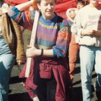 Maureen FitzGerald holding LMH Banner.jpg