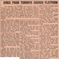 Love between two females publicly aired from Toronto church platform