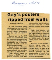 Gay's posters ripped from walls