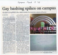 Gay bashing spikes on campus