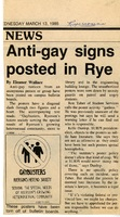 Anti-gay signs posted in Rye